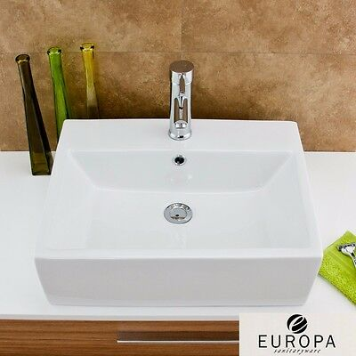 Europa Zeus 520x410 1th White Ceramic Counter Top Basin, Tap & Waste