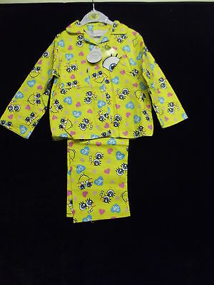 Bnwt Girls Yellow Warm Brushed Cotton Spongebob Design Pj's Ages 3 - 10Yrs Cute!