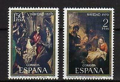 A7791) SPAIN 1970 Scott#1636/37 MNH** Christmas 2v