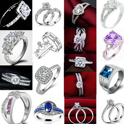 Womens Lady Gemstone CZ Wedding Engagement PARTY Band Rings Size 6-12 Jewelry HS