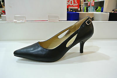 Women Ladies Low Mid Heel Pumps Pointed Toe Court Work Office Shoes