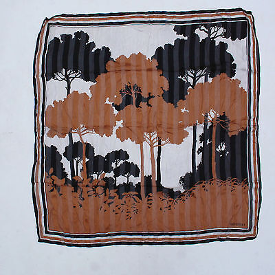 Velentino Vintage 80s Trees / Wood  Brown Silk Foulard Neckerchief Scarf