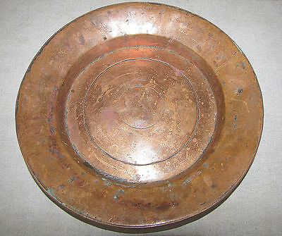 Turkish Ottoman Antique Islamic Copper Plate Tray Signed Engraved Hammered 1725