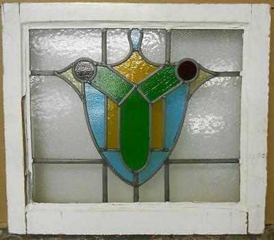 "MID SIZED OLD ENGLISH LEADED STAINED GLASS WINDOW Stunning Sheild 21.25"" x 18.5"""