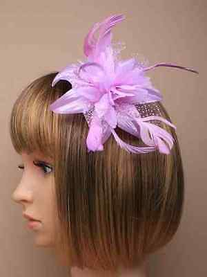 Chiffon Flower And Feather Hair Fascinator On Headband Or Comb