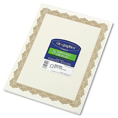 Geographics Parchment Paper Certificates, 8-1/2 x 11, Gold Border 25 pack