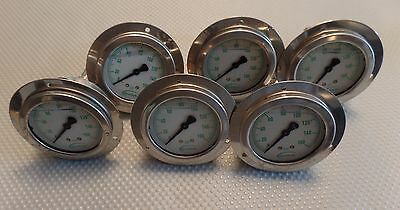 "2"" Liquid Filled panel mount Pressure Gauges - 1/4"" NPT  160PSI LOT of 6"