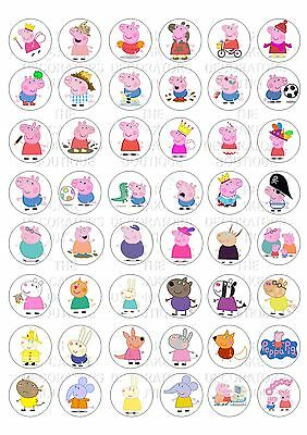 48 Peppa Pig Wafer / Rice Mini Cupcake Topper Edible Fairy Cake Bun Toppers