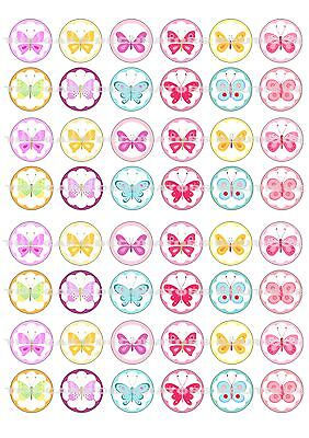48 Butterfly Butterflies Iced / Icing Mini Cupcake Topper Edible Fairy Cake Tops