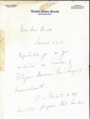 John F. Kennedy Autograph Letter Signed PSA/DNA Authenticity