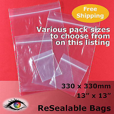 """ReSealable Zip Lock Click Seal Poly Bags 330x330mm 13""""x13"""" #RB41313"""