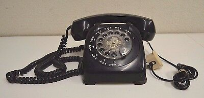 Automatic Electric Telephone Vintage Old Heavy Black Rotary Phone  Monophone WOW