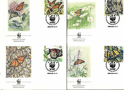 Mexico 1988 WWF Butterflies  Set of 4 FDC