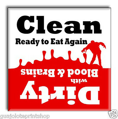 Clean Dirty Dishwasher Magnet - Funny Zombie Apocalypse Novelty Party Gag Gift