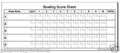 Bowling Scoring Sheets Paper Notepad Tally for Tournament Games to Keep Score