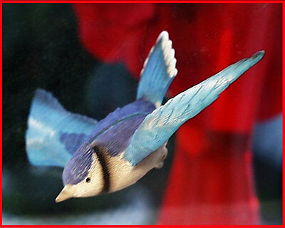 WINDOW MAGNET BLUE JAY flying-thru glass effect BLUEJAY, Gift Idea, HAND PAINTED