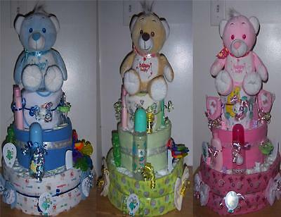 Baby Shower 3 Tier Bear Diaper Cake, Receiving Blankets, Bib, Bottle, Pacifier