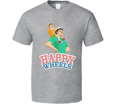 Happy Wheels T-Shirt Unisex Funny Tee Cute Fun Novelty Game App Cool Glam Top