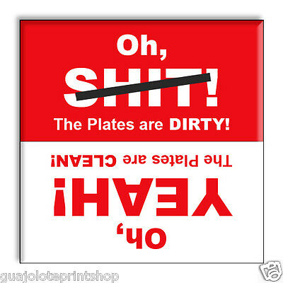 Oh SH*T Funny Clean Dirty Dishwasher Magnet 2.5 x 2.5 inches Fun Cheeky Style by