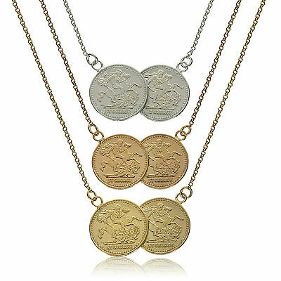 Sterling Silver Holly St George Double Coin Medal Belcher Chain Necklace Boxed