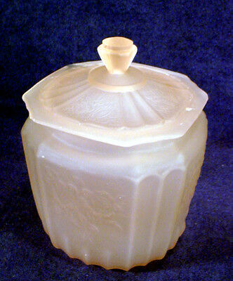 Satin PINK Depression FROSTED Glass MAYFAIR Hocking BISCUIT Cookie JAR Open Rose