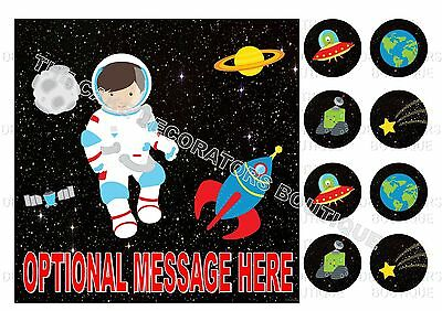 """Space Astronaut Iced / Icing Square Cake Topper Edible 7.5"""" + Cupcake Toppers"""