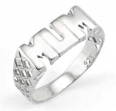 Sterling Silver Solid Polished Block Mum Ring Basket Pattern Rhodium Plated Band