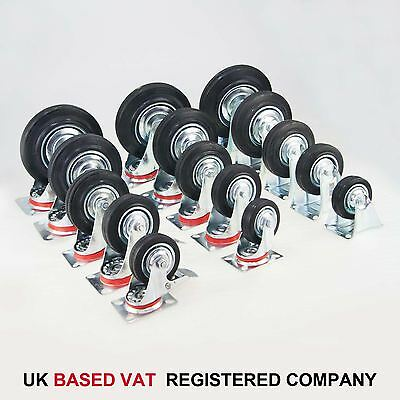 "75MM 3"" Heavy Duty Black Rubber Wheels Swivel Brake Fixed 550463"
