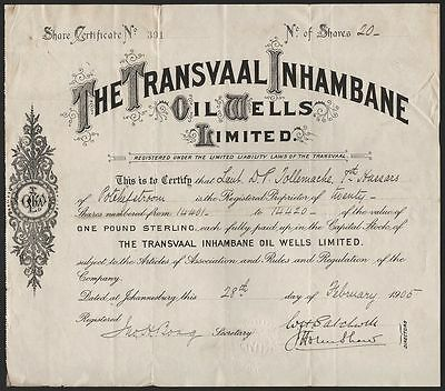 1905 South Africa: The Transvaal Inhambane Oil Wells