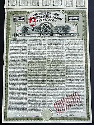 1908 Mexico: Irrigation Works and Development of Agriculture - $1000 Gold Bond