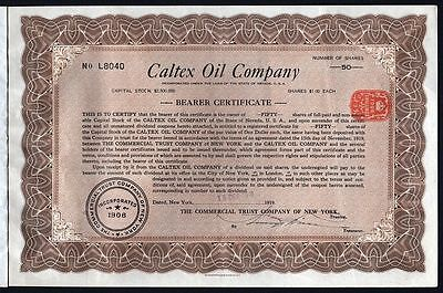 1919 Nevada: Caltex Oil Company - Bearer Certificate with coupons