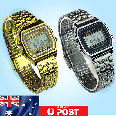 Retro Vintage Digital Wrist Watch Stainless Steel Gold Silver Alarm Classic #07
