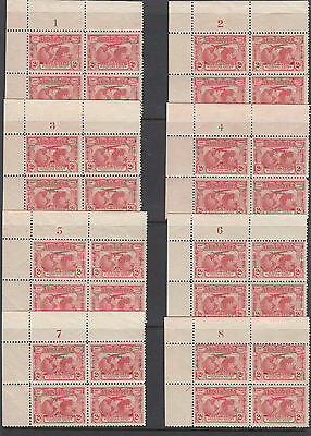Stamps Australia 2d red Kingsford Smith issue set of plate number blocks of 4