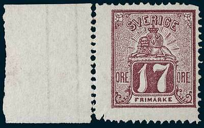 Sweden 1866 Laying Lion Type Violet 17 Ore MUH Stamp SG. 13