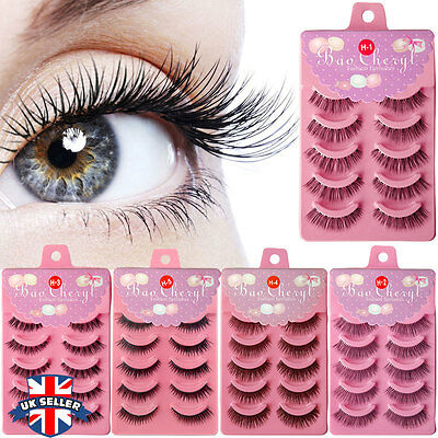 5 Pairs Natural Long Black Handmade Thick Makeup Fake Eyelashes False Lashes