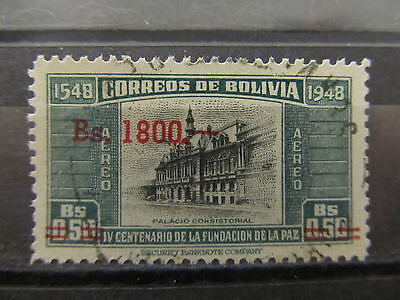 A2P30 BOLIVIA AIR POST STAMP 1957 1800b ON 50c USED #1