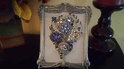 Vintage Jewelry  Pewter Framed Art Tree Christmas Gift