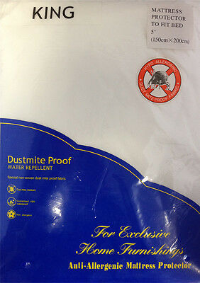 King Size Waterproof Mattress Bed Protector Dustmite Proof Anti Allergy