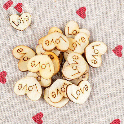 100X HOT Love Heart Shaped Wooden Button Love Word Wedding Party Signs Cutouts