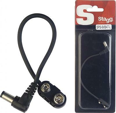 15cm Battery Power Cable, PP9 to Guitar FX Pedal + outer Straight or Angle Plug
