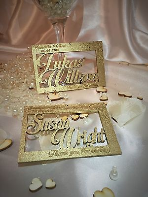 Personalised wooden wedding name place cards; flowers; anniversary; table decor