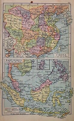 China & East Indies - Africa Double Sided Antique Map c1932 Original Small