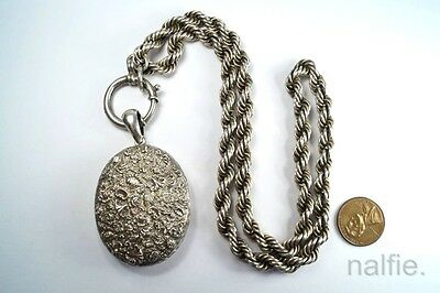 ANTIQUE ENGLISH VICTORIAN PERIOD SILVER LOCKET PENDANT & COLLAR NECKLACE c1880