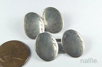 ANTIQUE 19tH CENTURY ENGLISH STERLING SILVER CUFFLINKS