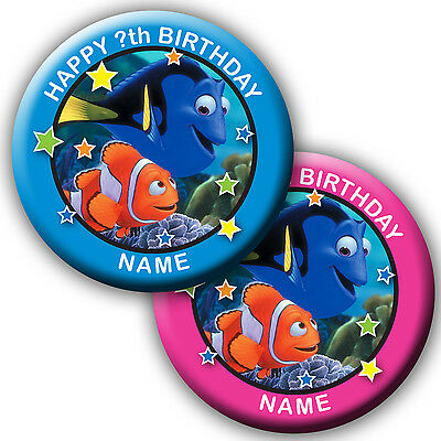 PERSONALISED FINDING DORY & NEMO BIRTHDAY BADGES/MAGNETS/MIRRORS 58MM or 77MM