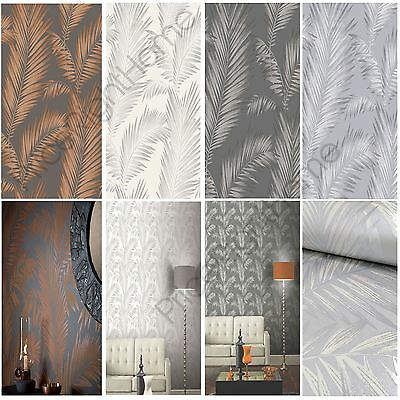 Arthouse Precious Metals Ardita Leaves Wallpaper Copper Pearl Platinum Free P+P