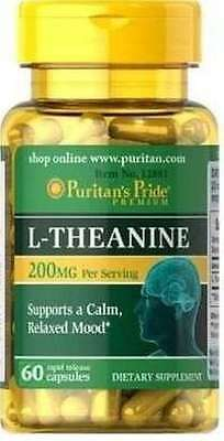L-Theanine 200 mg x 60 Capsules Puritan's Pride - 24HR DISPATCH