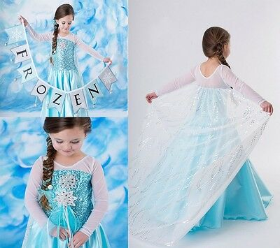 Girl Dress Costume Princess Queen Elsa Party Birthday size 1-12Yrs