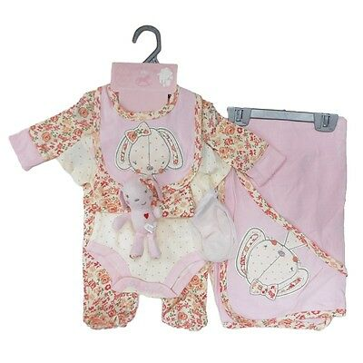 7 Piece Baby Girls Pink Bunny Layette Clothing & Toy Gift Set by Rock A Bye Baby