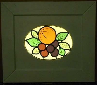 "OLD ENGLISH LEADED STAINED GLASS WINDOW Cute Fruit Cirlcle 17.5"" x 15.25"""